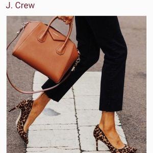 J crew leopard calf hair pumps
